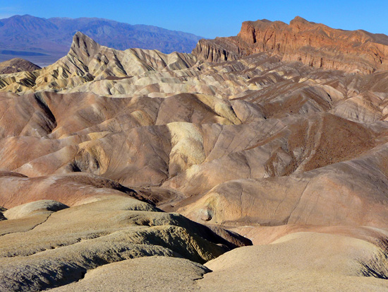 Looking northwest over the badlands of Golden Canyon and Zabriskie Point